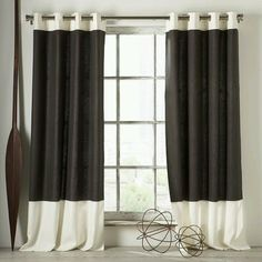 Colorblock curtains -- could maybe do something like this with the orange sheets -- just get some small amount of white fabric for top and bottom.