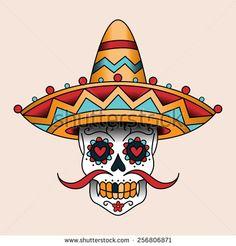 Mexican skull vector classic tattoo style - by Reinekke on VectorStock® Mexican Skull Tattoos, Sugar Skull Tattoos, Mexican Skulls, Mexican Art, Sugar Scull, Sugar Skull Art, Calaveras Mexicanas Tattoo, Caveira Mexicana Tattoo, Horse Skull