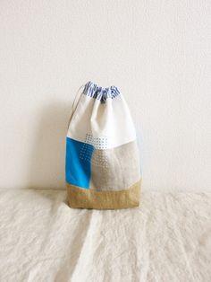 リネンの巾着袋 turquoise&blue stripe - LINDEN