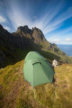Camping on a ridge in Lofoten
