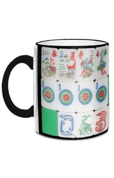Enjoy your coffee in this 11-ounce mug with images of an early-1960s Mah Jongg set manufactured by Cardinal. The actual tri-colored/multi-layered tiles have beautiful bright green backs and a middle layer of clear Lucite - fabulous!