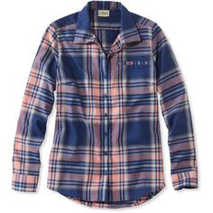 L.L.Bean Fall Flannel Shirt, Plaid ($50) ❤ liked on Polyvore featuring activewear, activewear tops, tops, tartan flannel shirt, wicking shirts, blue shirt, plaid button-down shirts and fitted shirts