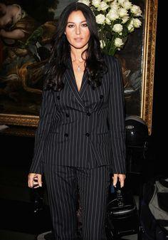Monica Bellucci in Pinstripe Suit. Monica Bellucci, Most Beautiful Women, Beautiful People, Look Office, Italian Actress, Girl Body, Christen, Women Lingerie, Beauty Women