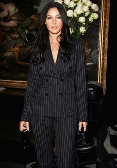 Monica Bellucci in Pinstripe Suit. Monica Bellucci, Look Office, Italian Actress, Girl Body, Christen, Models, Most Beautiful Women, Women Lingerie, Business Women