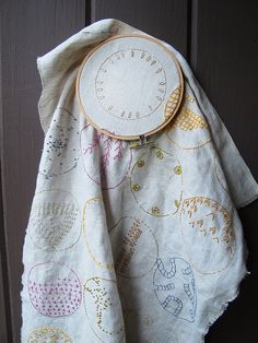 embroidery hoop stitched circles