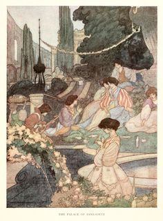 """llustration by Charles Robinson for """"The Happy Prince and Other Tales"""" by Oscar Wilde via Art of Pierangelo Boog blog."""