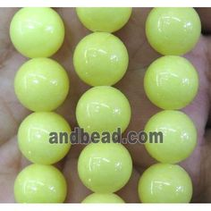 yellow jade bead, round, stabile (JDRD438-8MM) approx 8mm dia, 48pcs per st