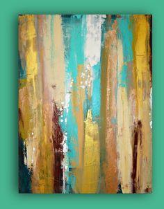 SOLD Aqua and Tan Original Acrylic Abstract Painting by Ora Birenbaum, $345.00  Titled: Patina