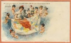 Victorian Trade Card Singer Sewing Machine 1904 Expo St Louis World's Fair PC