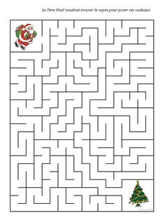 Christmas Maze, Christmas Colors, Christmas Holidays, Christmas Crafts, Xmas, Christmas Worksheets, Christmas Activities, Christmas Printables, Mazes For Kids
