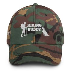 Hiking Dog Dad hat Embroidered Baseball Caps, Embroidered Hats, Funny Hats, Camo Hats, Panel Hat, Team Wear, Spirit Wear, Football Fans, The Ordinary