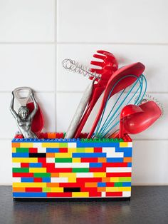 Lego kitchen tool holder. Bright color and playful accessory. - My kids would love making this for me!