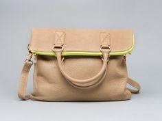 foldover bag w/neon detail