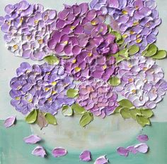 "Oil Painting impasto canvas painting ""Vintage Rose Hydrangeas"" Palette Knife Painting, Mothers Day, Wedding,"
