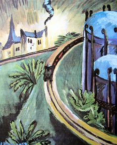 Gasometer in Vorortbahn by Ernst Ludwig Kirchner Size: 70.5x60.5 cm Medium: oil on canvas