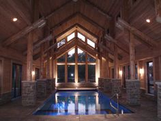 Log Home Indoor Swimming Pool by Wisconsin Log Homes   http://www.wisconsinloghomes.com/ pinned with Pinvolve