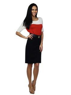 Office Attire The Limited - Colorblock Tee: $36.90  Ponte Pencil Skirt: $49.90  Pushlock Belt: $39.90