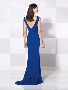 Cameron Blake - 115601 -     Sleeveless stretch mesh slim A-line gown with cowl neckline and deep V-back, hand-beading at natural waist, side draped skirt with left side slit and sweep train, suitable for wedding guests and formal events. Matching shawl included. As shown in Royal Blue: Jeweled Occasions earring style and bracelet style Valentina sold separately. As shown in Coral: Jeweled Occasions earring style London sold separately.  Sizes: 4 – 20, 16W – 26W      Colors: Royal Blue…