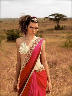 #Saree #indian wedding #fashion #style #bride #bridal party #brides maids #gorgeous #sexy #vibrant #elegant #blouse #choli #jewelry #bangles #lehenga #desi style #shaadi #designer #outfit #inspired #beautiful #must-have's #india #bollywood #south asain