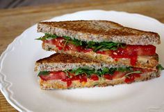Smoked Gouda Grilled Cheese with Arugula and Roasted Red Peppers-21 day fix