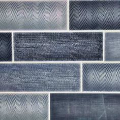 Mediterraneo Azul brick tile measures 10 x 30 cm per tile. Ceramic wall tile with a blue gloss finish and rippled glaze. The Mediterraneo Azul contains a blend of 3 blue tones and 3 different designs Cheap Wall Tiles, Wall And Floor Tiles, Wood Floor, Brick Tiles, Brick Wall, Tile Trim, Unique Flooring, Tiles Online, Black Floor