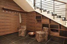 Wooden hallway storage units