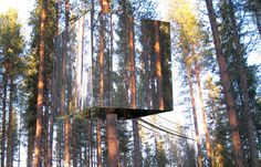 Did you hear the one about the invisible tree house hotel? An incredible concept by Tham & Videgard Hansson Arkitekter that disrupts nature in the most minimal fashion possible. This tree house/hotel room is lined with mirrored glass and almost vanishes at a glance from the outside, while granting the guest a 360 degree view from the inside. Wow.