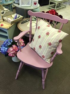 Chair painted in Frenchic lazy range 'love letter' this colour is so gorgeous Paint Furniture, Furniture Projects, Haberdashery, Upcycled Furniture, Chalk Paint, Lazy, Fabrics, Victoria, Range