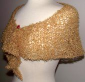 Hand Knit Shawl Lacy Golden Mohair