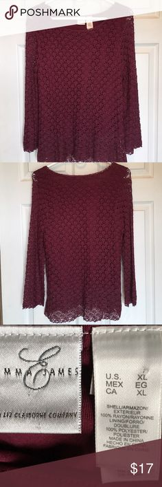 EMMA JAMES MAROON LACE TOP WITH LINER 🌺...ABSOLUTELY GORGEOUS....EMMA JAMES(a Liz Claiborne company) MAROON LACE HI/LO OVERLAY WITH LONG SLEEVES. Emma James Tops