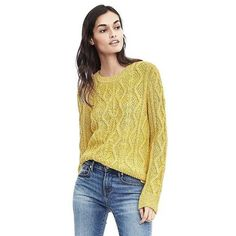 Banana Republic Womens Cable Crewneck Sweater ($118) ❤ liked on Polyvore featuring tops, sweaters, yellow, beige sweater, yellow sweater, cable-knit sweater, cotton crew neck sweater and banana republic sweaters