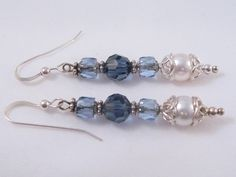 Swarovski Pearl, Crystal and Firepolished Czech Bead Dangle Earrings in Lovely Blue. $14.00, via Etsy.
