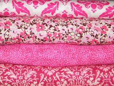4 FQ Bundle – PINK & WHITE FLORAL Prints 100% Cotton Quilt Fabric Fat Quarters
