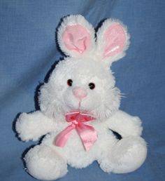 "Walmart White Pink Ear Bunny Rabbit Easter Plush Stuffed Animal Bow soft toy 6"" #Walmart #Easter"
