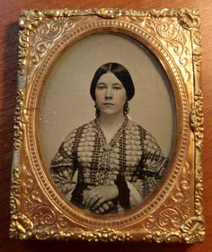 Vintage Ambrotype of Young Woman in Beautiful Dress and Hair Pulled Back   eBay