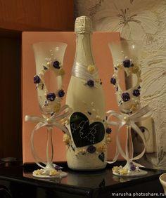 """Свадебные бокалы, шампанское.. Свадебный набор """"Грация"""" 370 грн / 1500 руб + стоимость шампанского (Свадьбы)"""