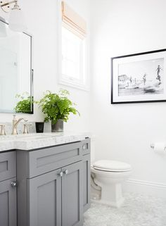 Gray Vanity with Carrera Marble Herringbone Floor, Transitional, Bathroom, Benjamin Moore Chelsea Gray