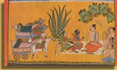 Sage Vishvamitra seeks King Dasharatha's permission for Rama to help rid his ashram of a demoness, Taraka.
