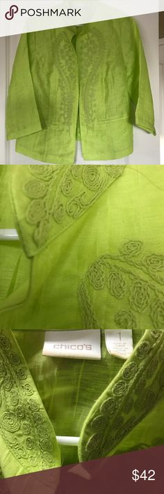 Perfect Summer Jacket Bring summer closer with this vibrant lime lightweight jacket embellished with super cute embroidery. 3/4 sleeves, 2 pockets and the perfect weight to add that extra layer when faced with too much air conditioning! Go ahead and make a statement! Chico's Jackets & Coats