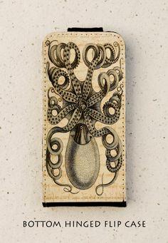 iphone 4 4S 5 5S case - Galaxy S3 S3mini S4 - flip case - Octopus - antique - illustration - Creature - Sea - Marine
