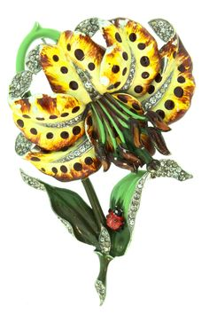 """ULTRA RARE BOOK PIECE MAZER or BOUCHER GIANT ENAMEL RHINESTONE TIGER LILY FLOWER FIGURAL PIN  Featured in Warman's """"Jewelry"""" 4th Edition Book on page"""