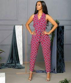 kitenge designs Kitenge Office Wear Outfits: The East African fabric, kitenge, comes in distinct prints and colors giving a quirky tribal vibe to it. Given its uniqueness, the fabric i African Print Jumpsuit, Ankara Jumpsuit, African Print Dresses, Ankara Dress, African Dress, African Fabric, African Print Clothing, African Prints, African Fashion Ankara