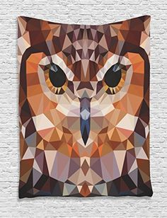 Geometric Decor Tapestry By Ambesonne Mosaic Owl Head In Linked Triangle Forms Retro Style Funky Geometric Art Boho Decor Bedroom Living Room Dorm Decor 40Wx60L Inches Brown Orange ** You can find out more details at the link of the image.