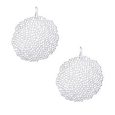Large Pom Pom Earrings in Silver