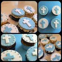 Fondant cross - for cupcakes Fondant Cupcakes, Christening Cupcakes, Baptism Cookies, Girl Christening, Fondant Toppers, Baking Cupcakes, Cupcake Cakes, Cupcake Ideas, Cup Cakes