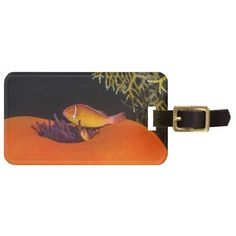 Luggage tag featuring a pair of Pink Anemonefish nestled on the balled anemone home on the Great Barrier Reef off the coast of QLD, Australia. Also known as the Pink Skunk Clownfish. It is customizable, simply requiring you to enter your own name, address, phone and email. #coral #reef #ocean #sea #diver #tropicalfish #greatbarrierreef #coralsea #coralreef #clownfish