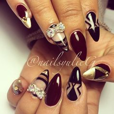 Burgundy Black and Gold Negative Space Almond Stiletto Nails @nailsyulieg