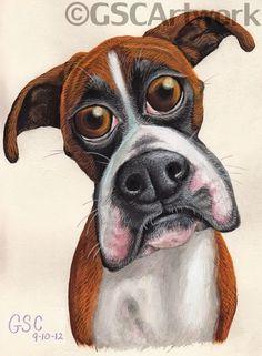 bambi boxer dog animal cartoon caricature acrylic painting pencil drawing