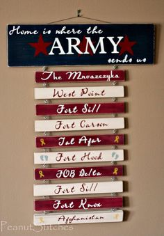 Home is where the Army sends you!  I love these signs, I need one for our house...with Navy of course..