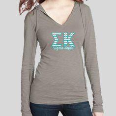 Sigma Kappa Chevron Slub V-Neck Hoodie by AllGreekTshirts on Etsy